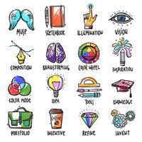 Conjunto de ícones de processo criativo vetor