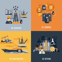 Ícone plana de indústria de petróleo