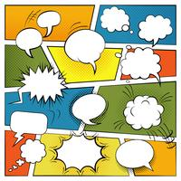 Conjunto de bolhas em quadrinhos em branco