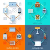 Conjunto de ícones do sistema de aquecimento