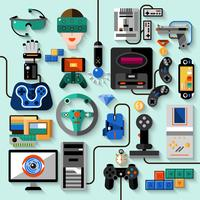 Conjunto de gadgets para jogos vetor
