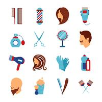Conjunto de ícones plana de cabeleireiro barbearia vetor