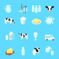 Ícones de leite plana vetor