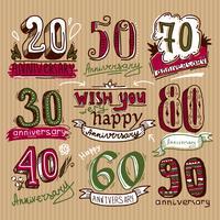 Conjunto de sinais de aniversário vetor