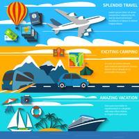 Conjunto de bandeiras de acampamento de férias viagens vetor