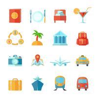 conjunto de plano de ícone de viagem vetor