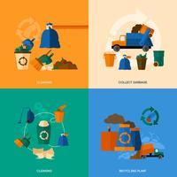 Lixo Icons Flat vetor