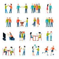 Amigos, ícones, apartamento, jogo vetor