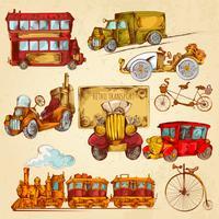 Esboço de transporte vintage colorido vetor