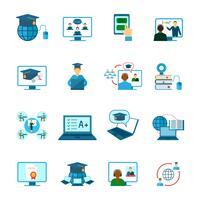 Ícone de educação on-line plana