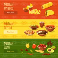 Conjunto de Banner de comida mexicana vetor