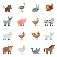 Conjunto de ícones plana de animais domésticos