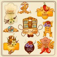 Etiquetas do vintage das especiarias