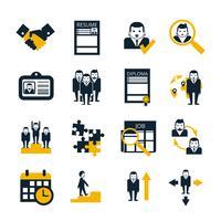 Conjunto de ícones pretos de recursos humanos