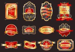 Coleção de emblemas de rótulos retrô dourado