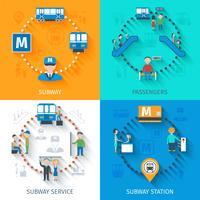 Conjunto de conceito de design de metrô vetor