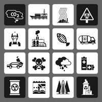 Conjunto de ícones pretos de poluição