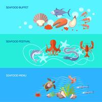 Conjunto de Banner de comida do mar