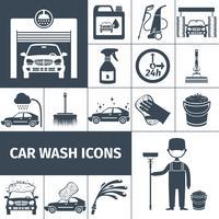 Conjunto de ícones de serviço de lavagem de carro preto vetor