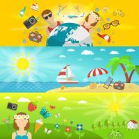 Férias de verão e conjunto de bandeiras horizontais de viagens