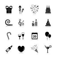 Celebração ícones preto
