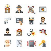 Conjunto de ícones de vigilância e segurança vetor