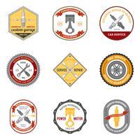 Emblemas de oficina de reparação coloridos vetor