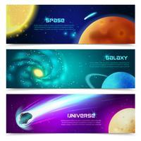 Conjunto de bandeiras de galáxia Cosmos vetor