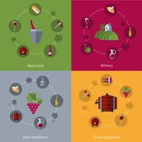 Vinho flat 4 ícones composição círculos vetor