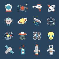 Conjunto de ícones de ficção vetor