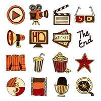 Conjunto de ícones vintage de cinema cor