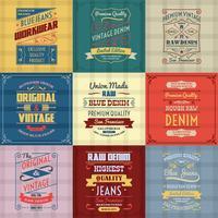 Conjunto de cores de fundo de tipografia de jeans vetor