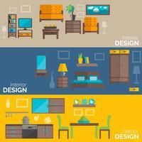 Conjunto de bandeiras plana de design de móveis para casa