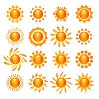Conjunto de ícones de símbolo do sol vetor