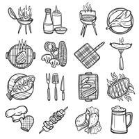 Conjunto de ícones de churrasqueira vetor