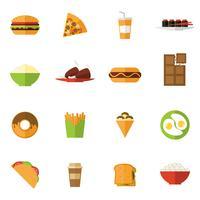 Conjunto de ícones de fast-food vetor