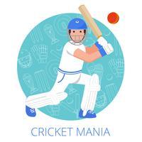 Cricket jogador ícone cartaz impressão plana vetor