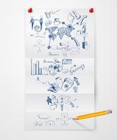 Folha de papel de doodle de negócios vetor