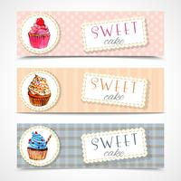 Conjunto de bandeiras de cupcakes doces vetor