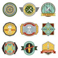 Retro emblemas de oficina de reparação vetor
