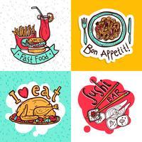 Design de composição de ícones de conceito de restaurante vetor