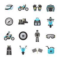 Conjunto de ícones plana de moto Rider vetor