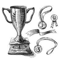 Conjunto de esboços de troféu vetor