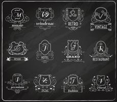 monograma escudos conjunto de lousa vetor