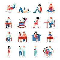 Conjunto de pessoas de leitura vetor