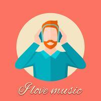 Homem ouvindo música vetor