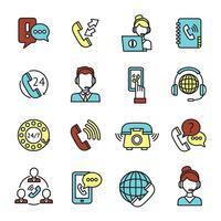 Conjunto de ícones de centro de chamada