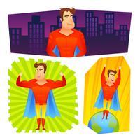 Conjunto de bandeiras de cartazes de super-herói vetor