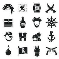 Conjunto de ícones de pirata preto
