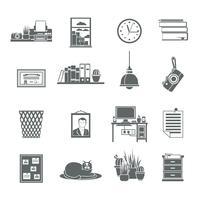 Conjunto de ícones no local de trabalho vetor
